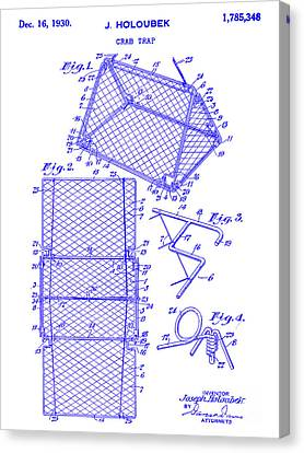 1930 Crab Trap Patent Blueprint Canvas Print