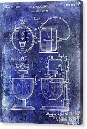 1930 Electric Mixer Patent Blue Canvas Print