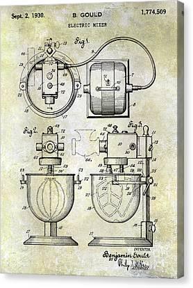 1930 Electric Mixer Patent Canvas Print