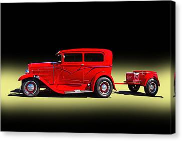 1930 Red Ford Sedan With Trailer Canvas Print