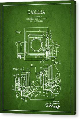 1931 Camera Patent - Green Canvas Print by Aged Pixel