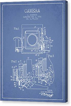 1931 Camera Patent - Light Blue Canvas Print by Aged Pixel