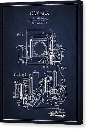 1931 Camera Patent - Navy Blue Canvas Print by Aged Pixel