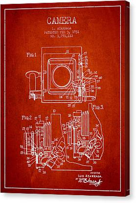 1931 Camera Patent - Red Canvas Print by Aged Pixel