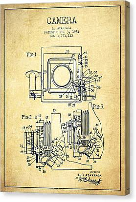 1931 Camera Patent - Vintage Canvas Print by Aged Pixel
