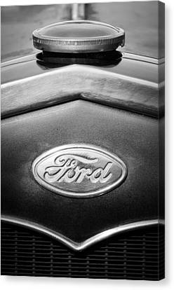 1931 Ford Emblem -0376bw1 Canvas Print by Jill Reger