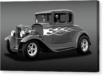 Canvas Print featuring the photograph 1931 Ford Model A 5 Window Coupe  -  1931ford5winmdlacpebw172189 by Frank J Benz