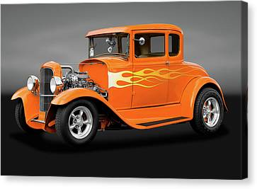 Canvas Print featuring the photograph 1931 Ford Model A 5 Window Coupe  -  1931modelafordgry172189 by Frank J Benz