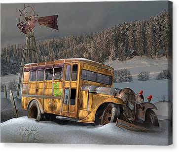 1931 Ford School Bus Canvas Print by Stuart Swartz