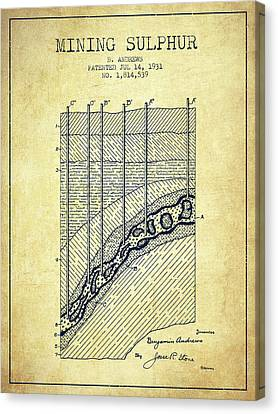 1931 Mining Sulphur Patent En38_vn Canvas Print by Aged Pixel