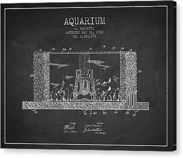 Fish Tanks Canvas Print - 1932 Aquarium Patent - Charcoal by Aged Pixel