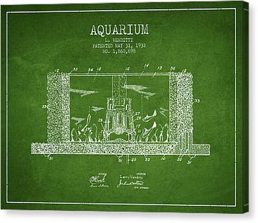 1932 Aquarium Patent - Green Canvas Print by Aged Pixel