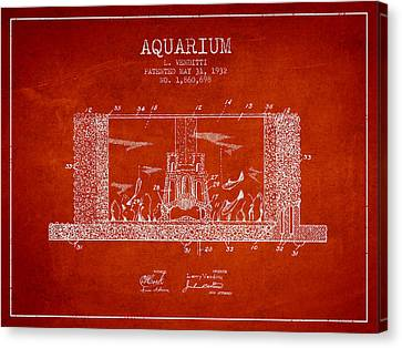 1932 Aquarium Patent - Red Canvas Print by Aged Pixel