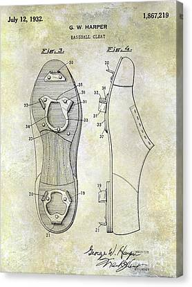Baseball Canvas Print - 1932 Baseball Cleat Patent Blueprint by Jon Neidert