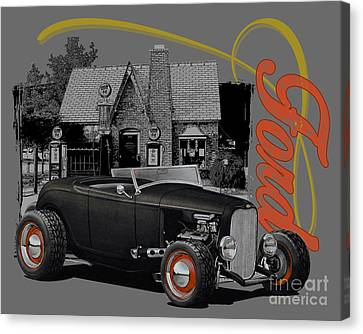 1932 Black Ford At Filling Station Canvas Print by Paul Kuras