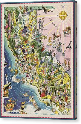 Old Sacramento Canvas Print - 1932 Caricature Map Of California by Jon Neidert