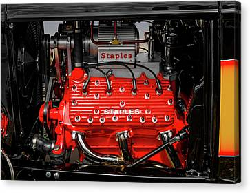 1932 Ford Coupe V8 Supercharged Flathead Engine Detail   -   1932fordv8flathead170318 Canvas Print
