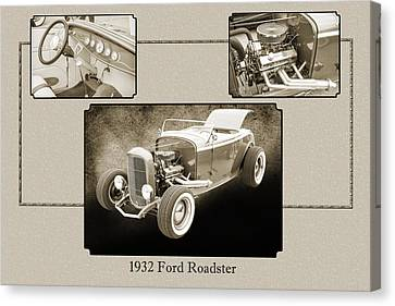 1932 Ford Roadster Sepia Posters And Prints 020.01 Canvas Print by M K  Miller