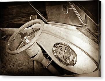 1932 Ford Roadster Steering Wheel -0225s Canvas Print by Jill Reger