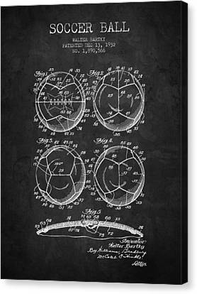 1932 Soccer Ball Patent Drawing - Charcoal - Nb Canvas Print by Aged Pixel