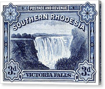 Canvas Print featuring the painting 1932 Southern Rhodesia Victoria Falls Stamp by Historic Image