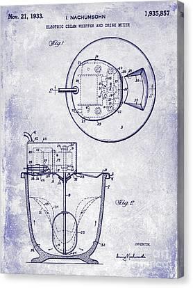1933 Electric Cream Whipper Patent Blueprint Canvas Print