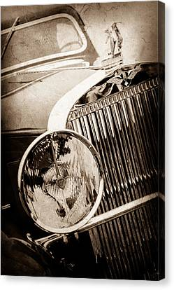 Hispano Suiza Canvas Print - 1933 Hispano-suiza J12 Vanvooren Coupe Grill Emblem - Hood Ornament -0777s by Jill Reger
