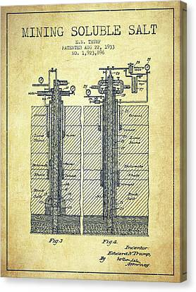 Machinery Canvas Print - 1933 Mining Soluble Salt Patent En40_vn by Aged Pixel