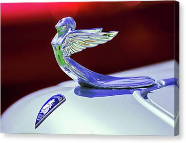 Canvas Print featuring the photograph 1933 Plymouth Hood Ornament -0121rc by Jill Reger