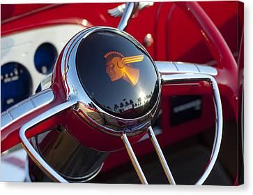 1933 Pontiac Steering Wheel Canvas Print by Jill Reger