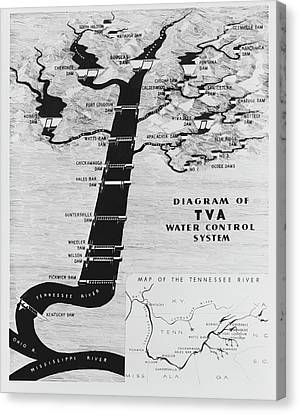 1933 Tennessee Valley Authority Map Canvas Print by Daniel Hagerman