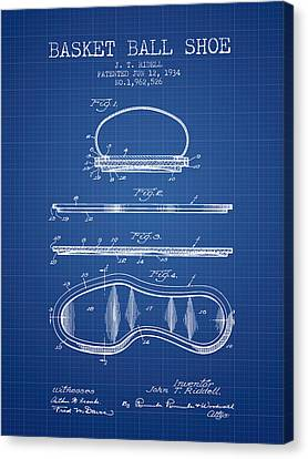 1934 Basket Ball Shoe Patent - Blueprint Canvas Print by Aged Pixel