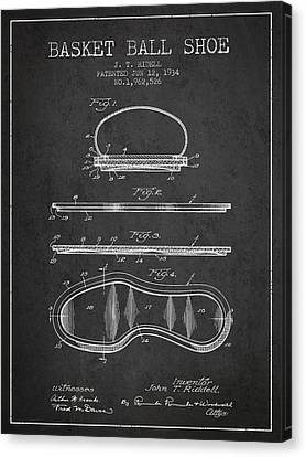 1934 Basket Ball Shoe Patent - Charcoal Canvas Print by Aged Pixel