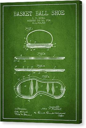 1934 Basket Ball Shoe Patent - Green Canvas Print by Aged Pixel