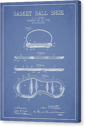 1934 Basket Ball Shoe Patent - Light Blue Canvas Print by Aged Pixel
