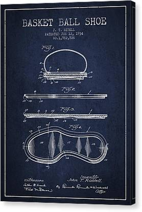 1934 Basket Ball Shoe Patent - Navy Blue Canvas Print by Aged Pixel