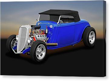 1934 Ford Convertible  -  1934fordhemiconvertible170850 Canvas Print