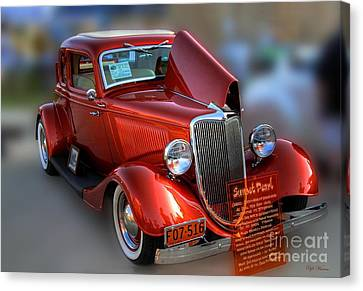 Canvas Print featuring the photograph 1934 Ford Coupe by Dyle   Warren