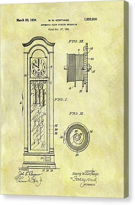 1934 Grandfather Clock Patent Canvas Print by Dan Sproul