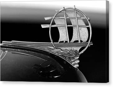 1934 Plymouth Hood Ornament Black And White Canvas Print by Jill Reger