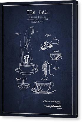 1934 Tea Bag Patent - Navy Blue Canvas Print by Aged Pixel