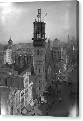 Canvas Print featuring the photograph 1935 Back Bay Construction, Boston by Historic Image