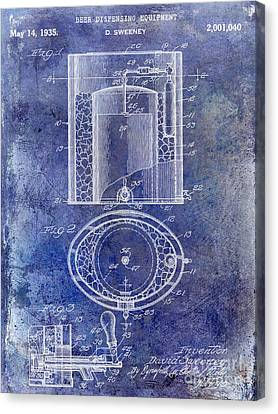 1935 Beer Equipment Patent Blue Canvas Print by Jon Neidert