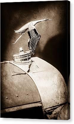 Hispano Suiza Canvas Print - 1935 Hispano-suiza J12 Vanvooren Cabriolet Hood Ornament -2425s by Jill Reger