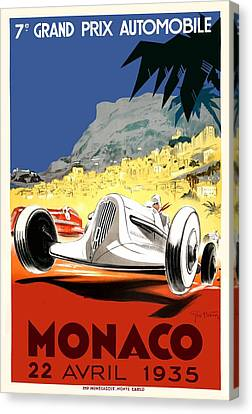 1935 Monaco Grand Prix Race Poster Canvas Print by Retro Graphics