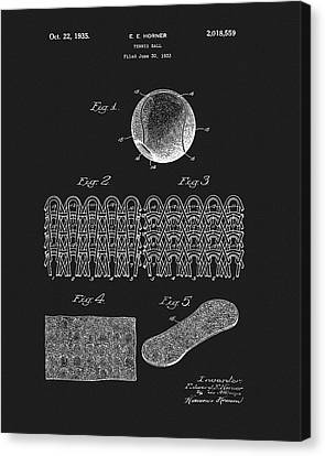 Canvas Print featuring the mixed media 1935 Tennis Ball Patent by Dan Sproul