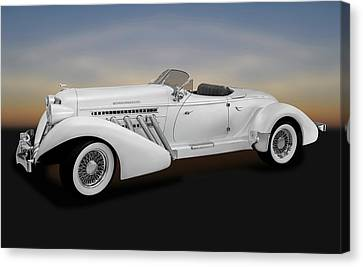 Canvas Print featuring the photograph 1936 Auburn Supercharged Speedster Convertible  -  1936auburnspeedster170552 by Frank J Benz