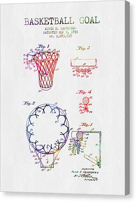 1936 Basketball Goal Patent - Color Canvas Print by Aged Pixel