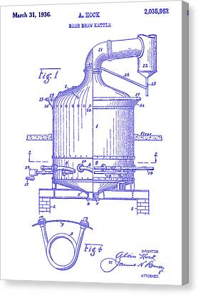 1936 Beer Brew Kettle Patent Blueprint Canvas Print