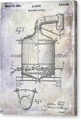 Stein Canvas Print - 1936 Beer Brew Kettle Patent by Jon Neidert